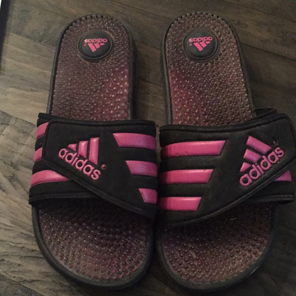 135a13c6ef029a adidas Shoes - Adidas Women s Black   Pink Slides